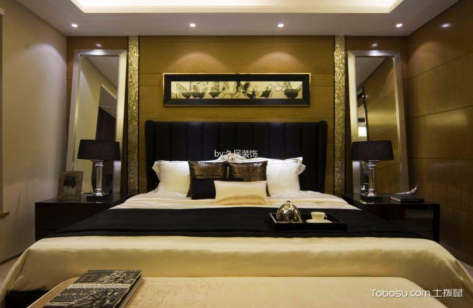 卧室黑色床后现代风格装饰设计图片