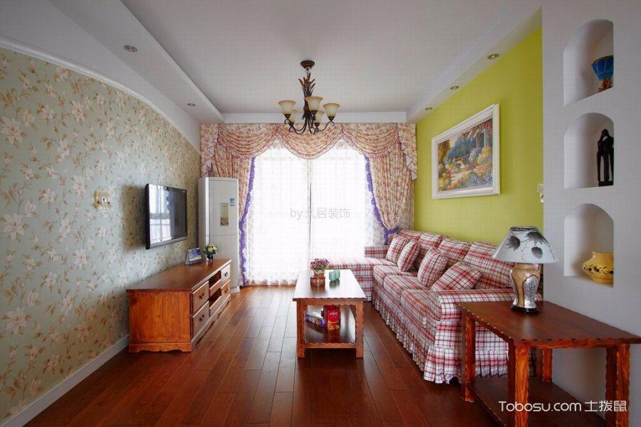 客厅白色吊顶田园风格装修图片
