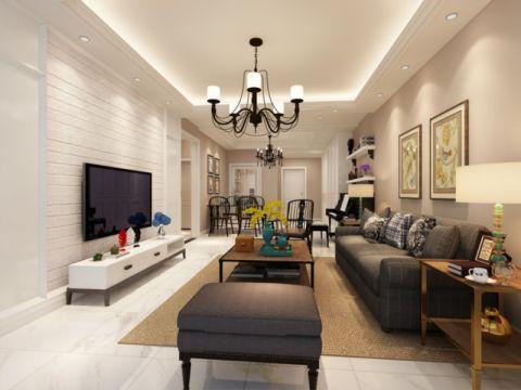 现代简约风格91平米三室两厅新房装修效果图