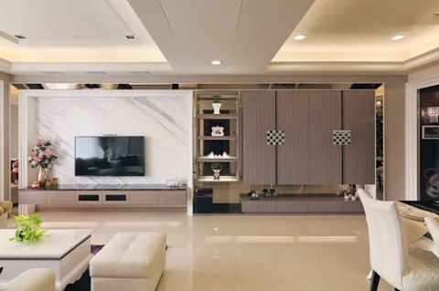 简欧风格89平米三室两厅室内装修效果图