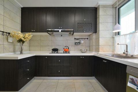 厨房黑色橱柜简约风格装饰图片