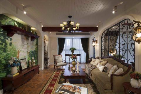 欧风丽苑130平现代美式乡村风格三居室效果图
