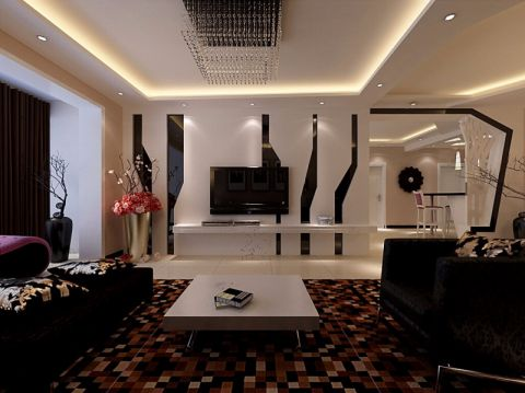 简约风格140平米三室两厅新房装修效果图