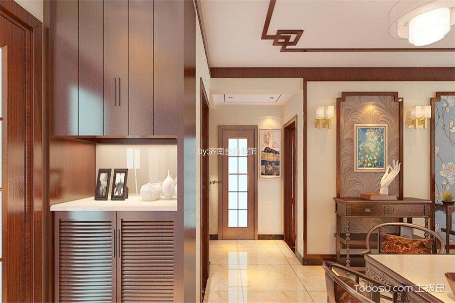 客厅黄色走廊新中式风格装修图片