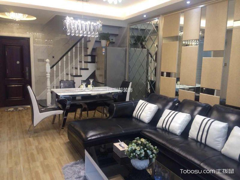 客厅咖啡色地板砖现代风格装修设计图片