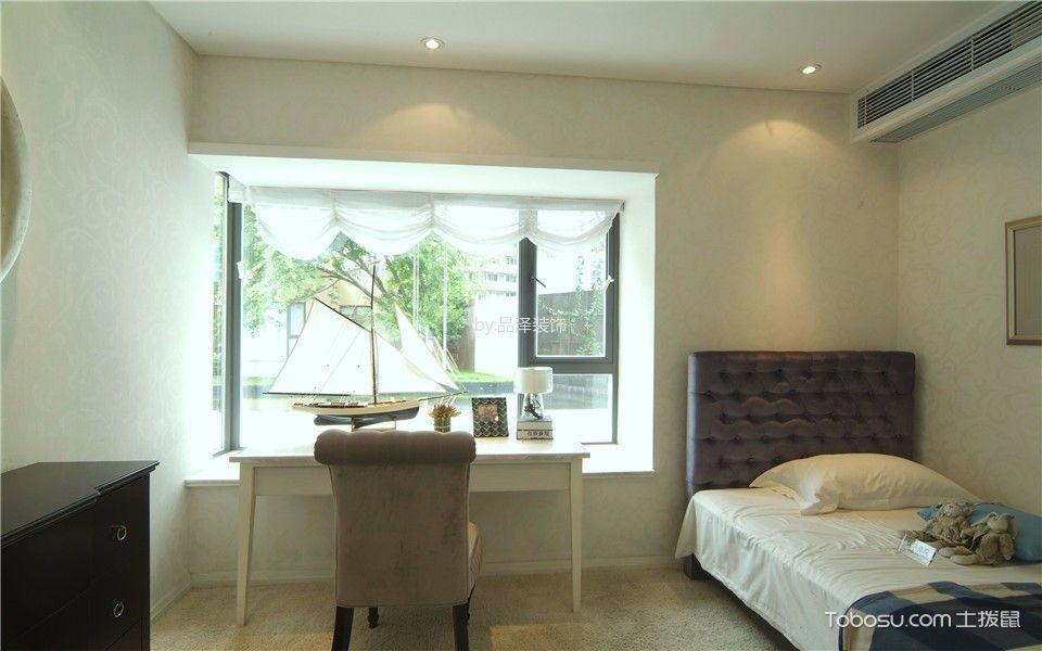 卧室白色书桌简欧风格装修设计图片