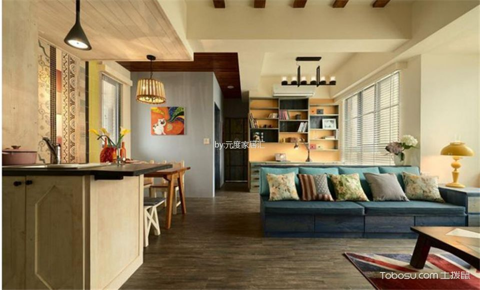 客厅蓝色沙发田园风格装潢效果图