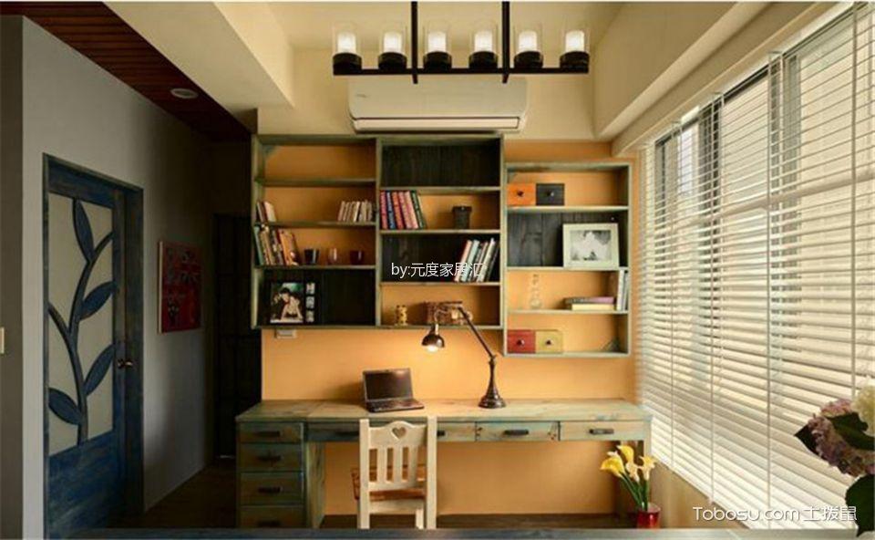 书房绿色书桌田园风格装饰设计图片