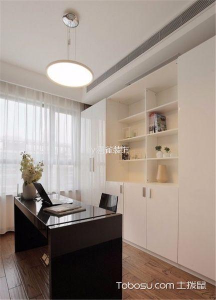 书房白色吊顶现代简约风格装潢设计图片