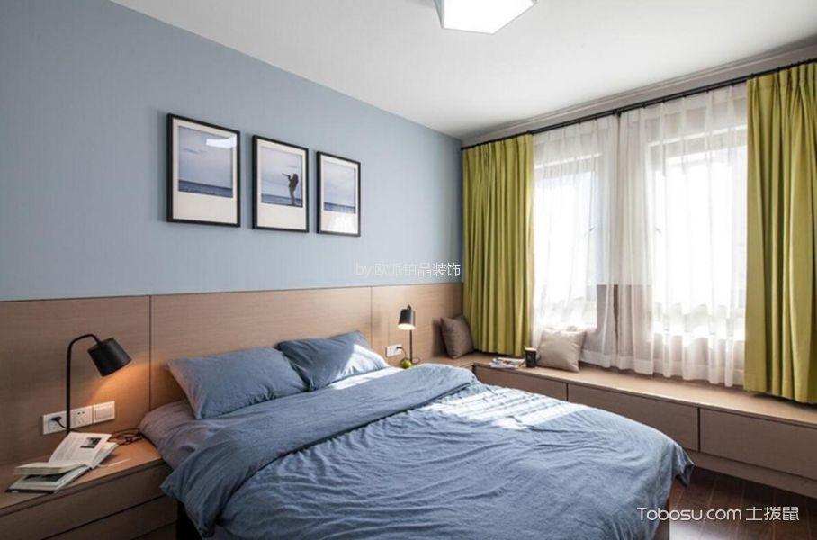 卧室蓝色照片墙现代风格装饰图片