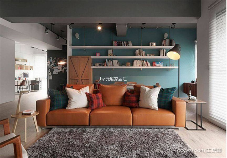 客厅橙色沙发简单风格装修图片