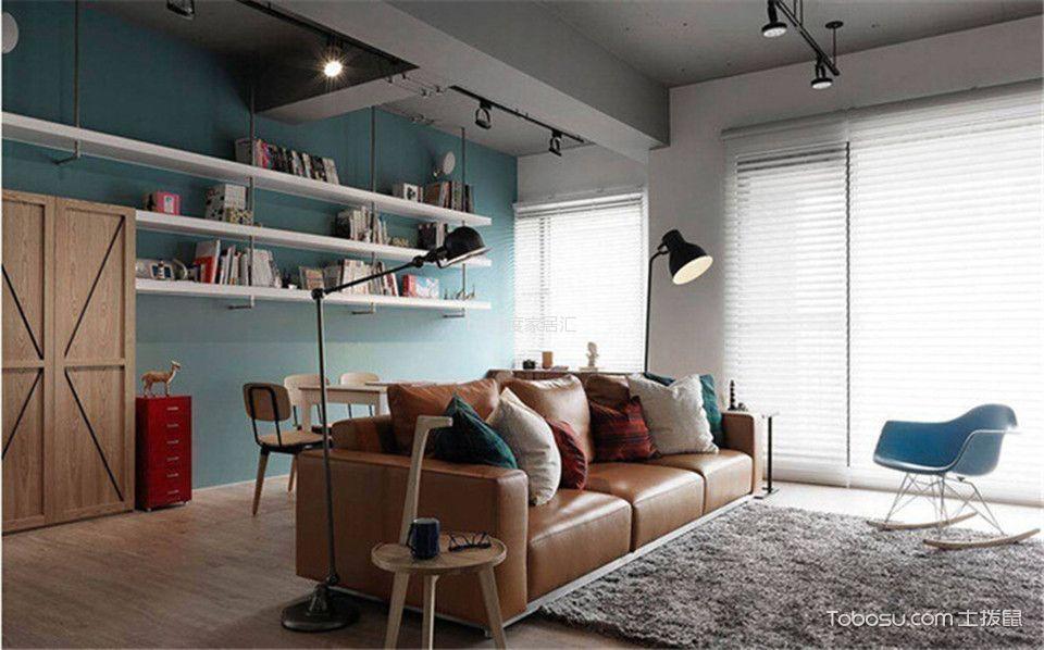 客厅橙色沙发简单风格装修设计图片