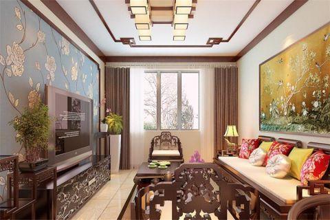 新中式风格90平米楼房室内装修效果图