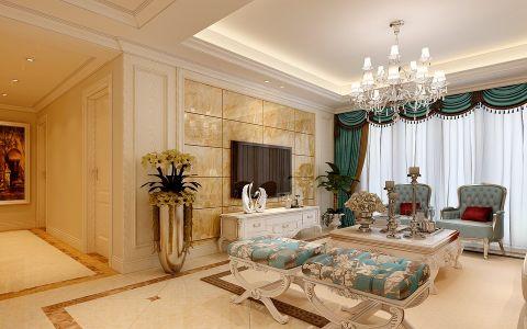客厅窗帘简欧风格装潢图片
