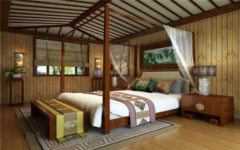 卧室床头柜中式风格装潢效果图