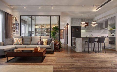 客厅地板砖现代简约风格装修设计图片