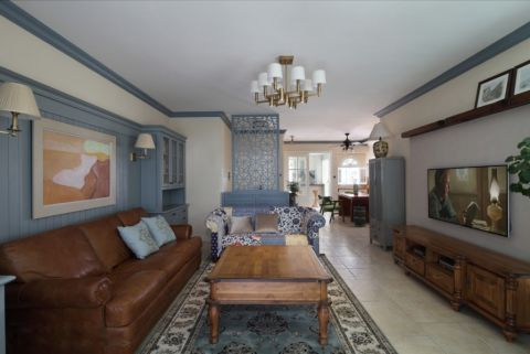 欧式田园风格130平米三室两厅室内装修效果图