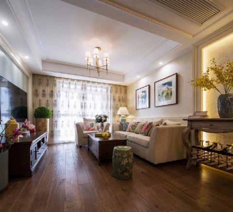 美式风格98平米三室两厅室内装修效果图