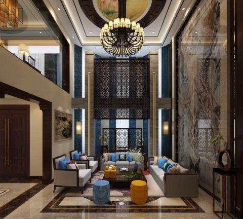 新中式风格310平米别墅室内装修效果图
