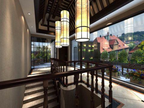阳台楼梯新中式风格装饰效果图
