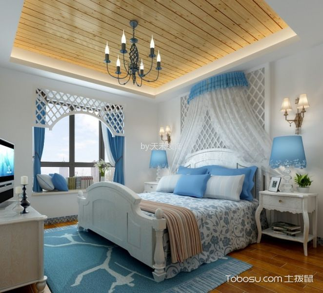 卧室黄色吊顶地中海风格装饰设计图片