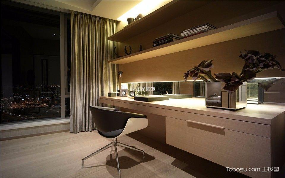 卧室米色书桌简欧风格装修设计图片