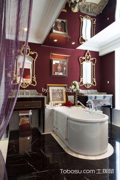 浴室白色浴缸混搭风格装潢图片