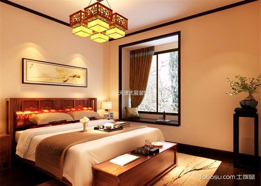 卧室橙色床新中式风格装饰效果图