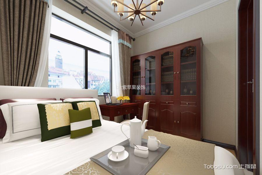 卧室红色书桌中式风格装饰设计图片