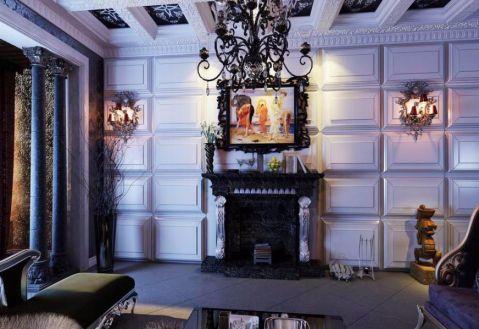 客厅白色背景墙欧式风格装修设计图片