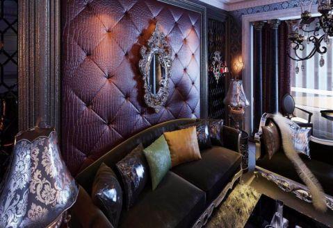 客厅黑色沙发欧式风格装饰设计图片
