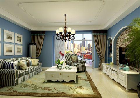 地中海风格140平米三室两厅新房装修效果图