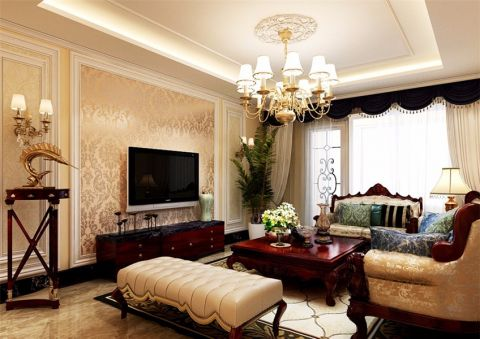 简欧风格120平米三室两厅室内装修效果图