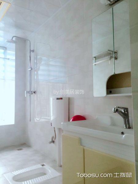 卫生间白色背景墙简欧风格装潢设计图片