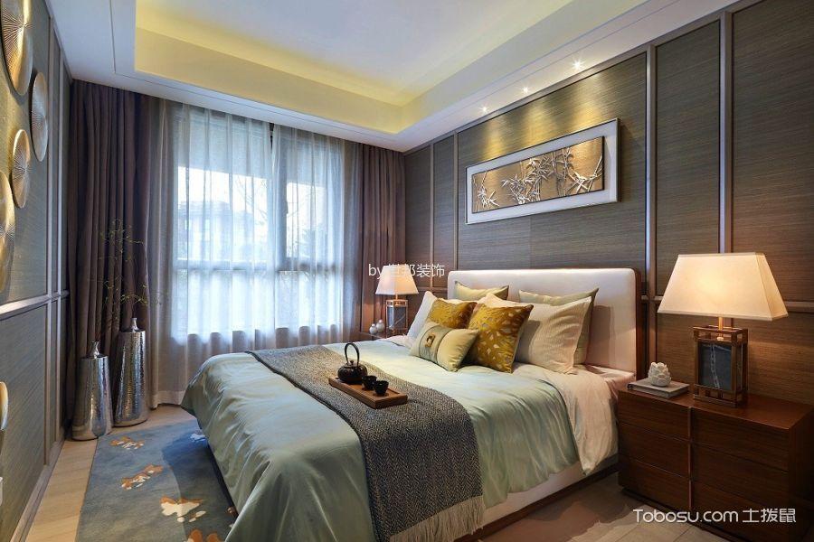 卧室米色床新中式风格装饰图片