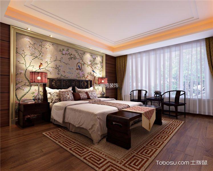 卧室橙色窗帘新中式风格装修图片