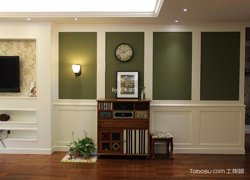 玄关绿色背景墙美式风格装饰图片
