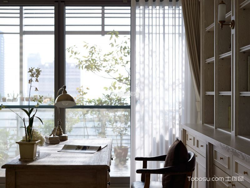书房白色窗帘美式风格装潢图片