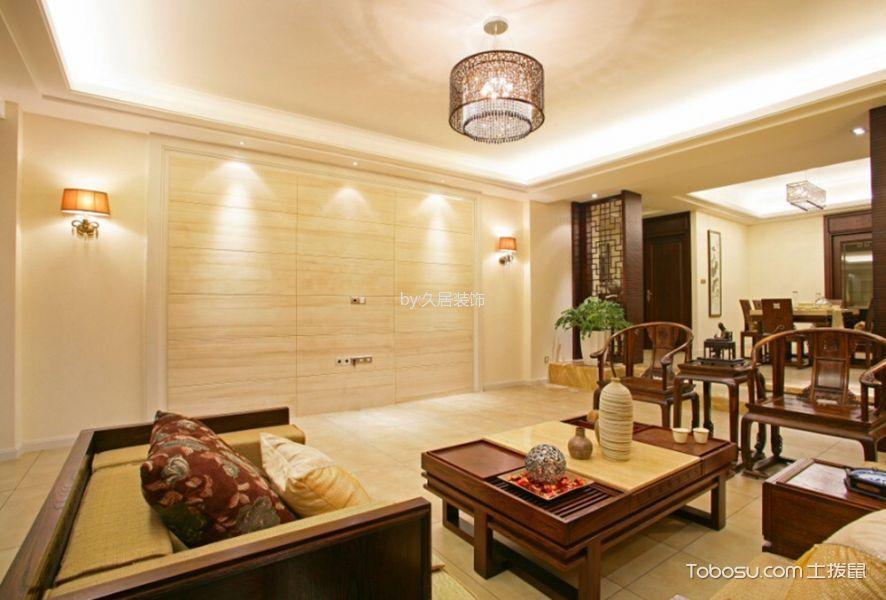 新中式风格120平米三室两厅新房装修效果图图片