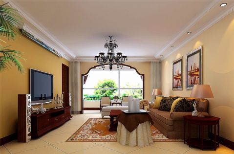 东南亚风格120平米三室两厅新房装修效果图