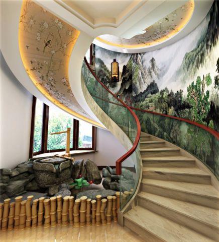 客厅楼梯新中式风格装饰设计图片