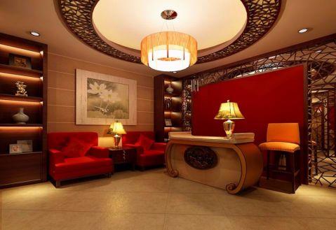 书房咖啡色吊顶新古典风格装饰效果图