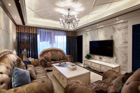 欧式风格100平米三室两厅新房装修效果图