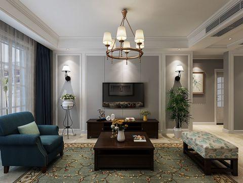 美式风格120平米四室两厅新房装修效果图