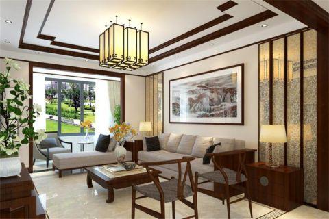 新中式风格139平米楼房新房装修效果图
