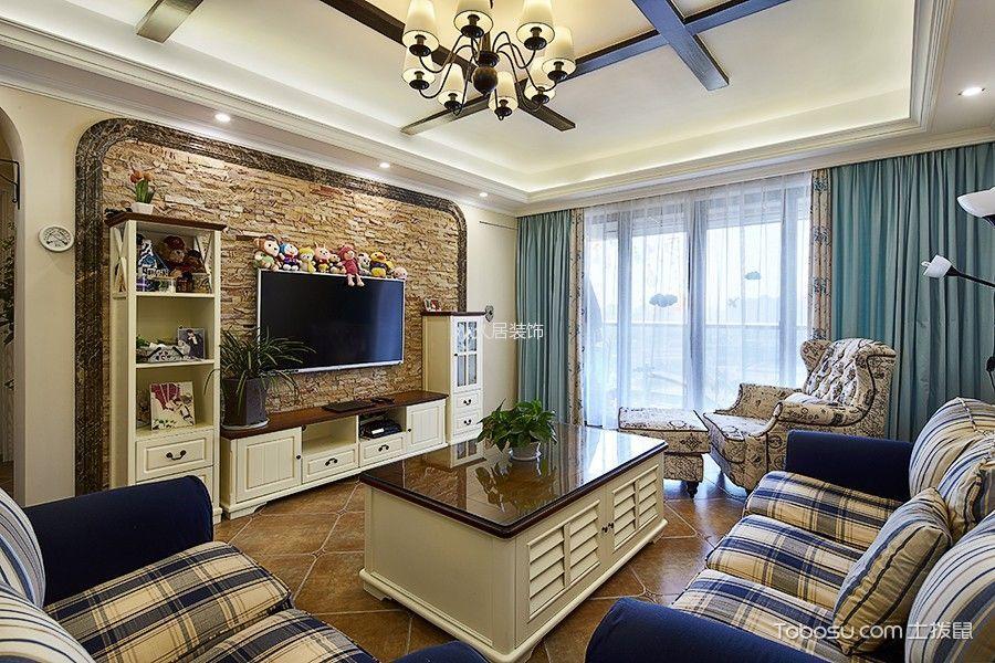 客厅米色电视柜田园风格装潢效果图