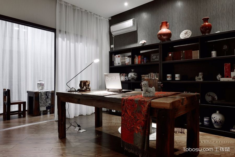 书房黑色博古架混搭风格装潢设计图片