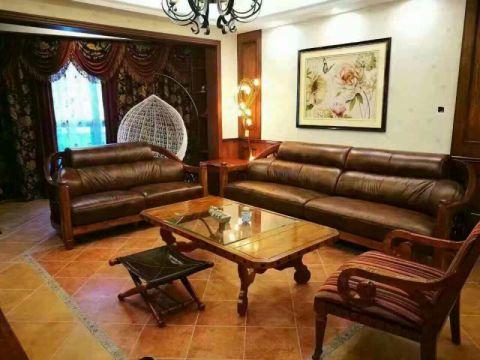 客厅茶几中式古典风格装潢效果图