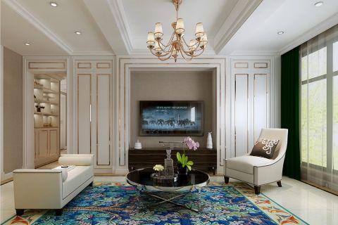 美式风格140平米三室两厅房子装修效果图