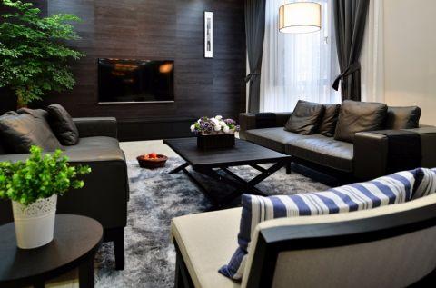 客厅黑色茶几混搭风格装饰设计图片